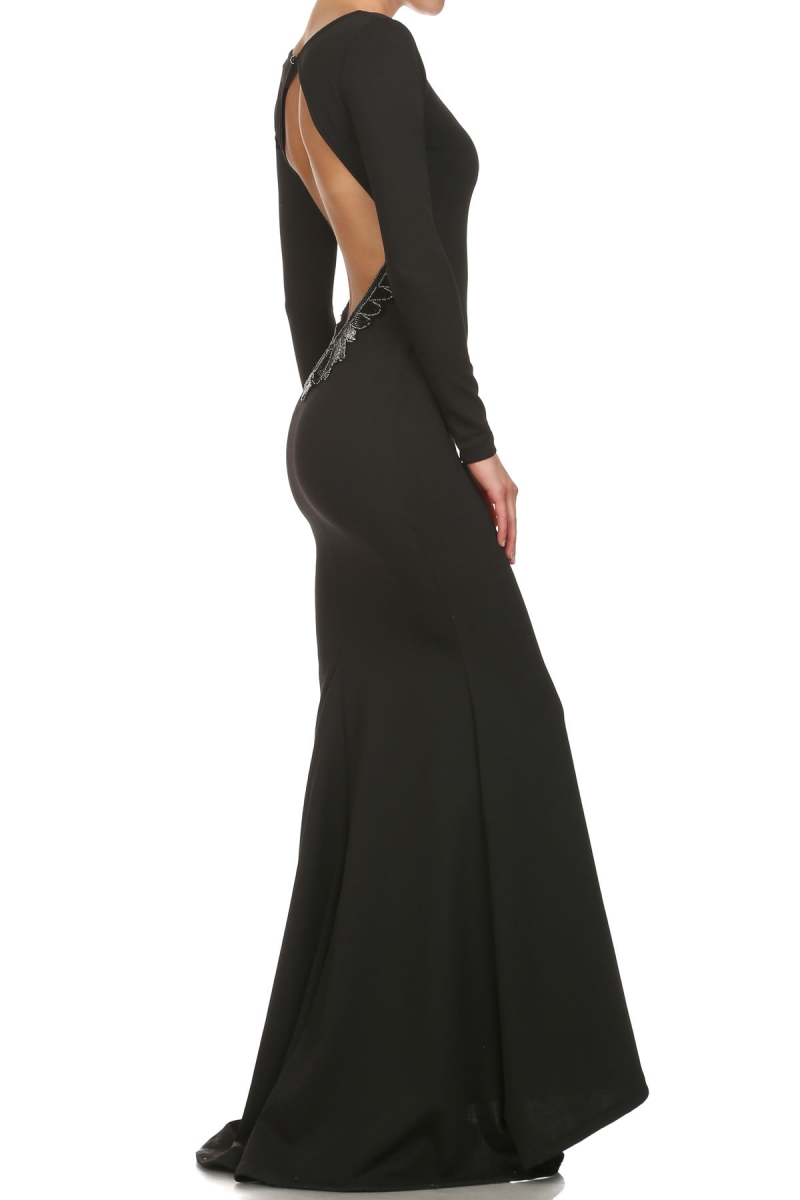 """All Eyes On Me Collection- mermaid gown with open back-BLACK"""