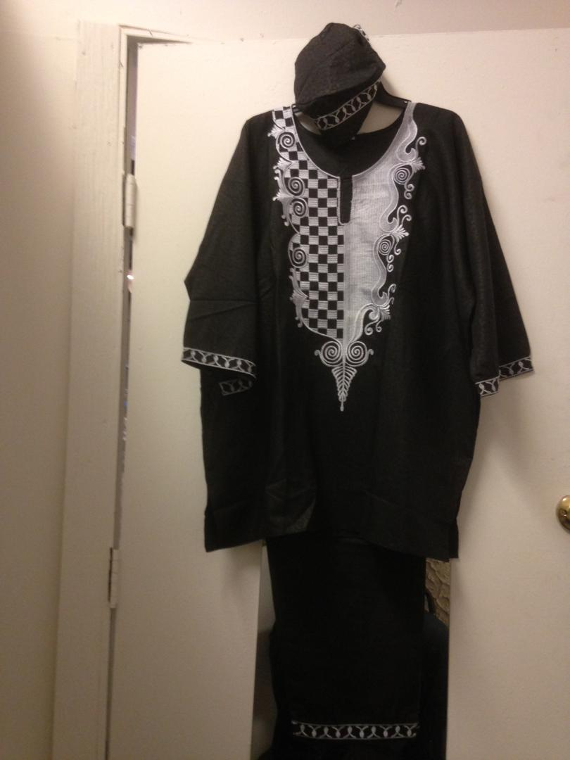African clothing for men - black with silver embroidery
