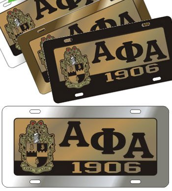 Alpha Phi Alpha gifts auto accessories Domed Shield License Plat