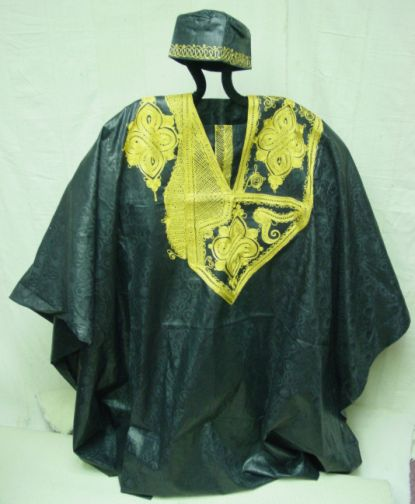 'Embroidered Grand Boubou-Black'