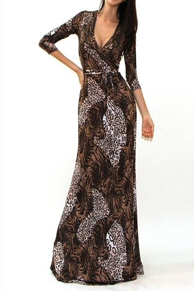 All Eyes On Me Collection-multi print 3/4 sleeve maxi dress