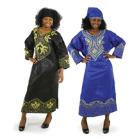 'Embroidered Long-Sleeve African Dress'