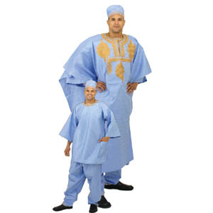 4 pc Embroidered Grand BouBou Light Blue