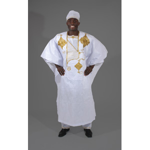 African Men Embroidered Grand BouBou set WhiteGold