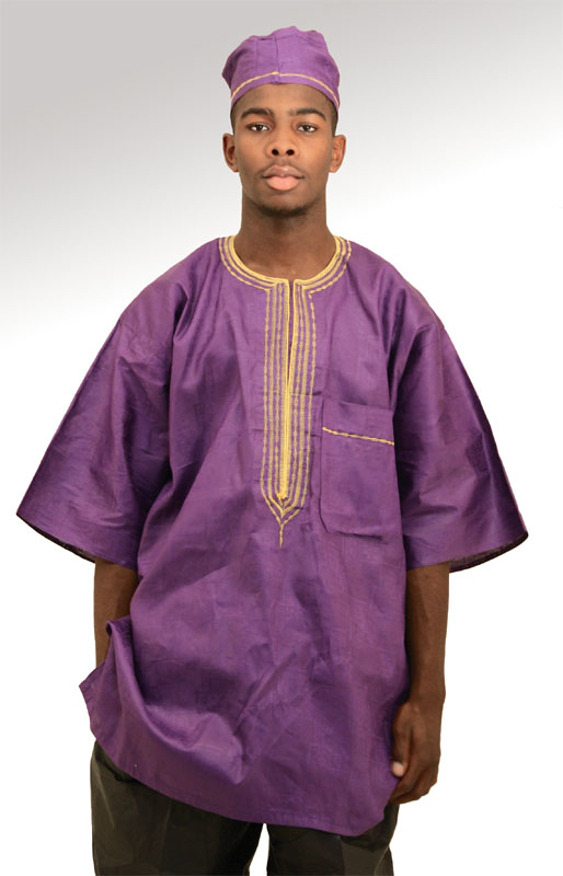 African Brocade fabric Dashiki Purple