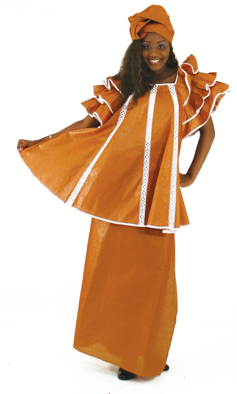 'African Clothing-Brown Brocade Pleated Skirt Set'