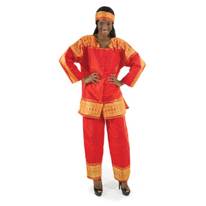 African George Fabric Pant Set - Red