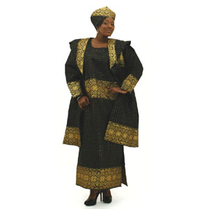 African George Fabric Dress Set - Black:Free