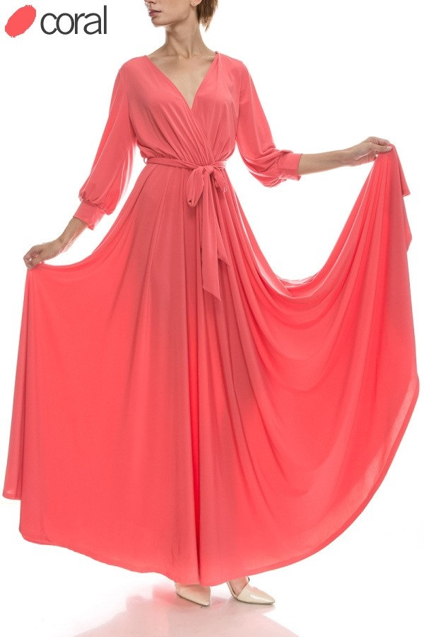 All Eyes On Me Collection-VENECHIA SOLID MAXI WRAP DRESS-coral
