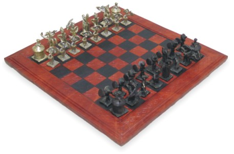 CHESS SET-Antique Chess Board With Bronze Pieces