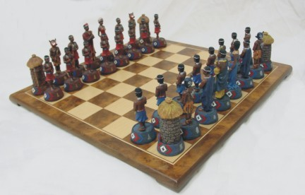 CHESS SET-Chess Set With Massai Pieces