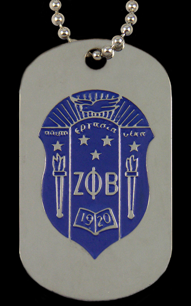 Zeta Phi Beta jewelry - dogtag with chain