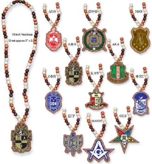Omega Psi Phi jewelry - Wood Bead Tiki Crest