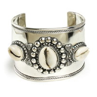 Wide Band Silver Cowrie Shell Bracelet
