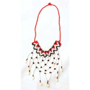 Massai Beaded Choker Necklace : Red