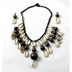 Cowrie Shell Jewelry Set - Dark Brown