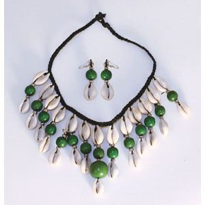 Cowrie Shell Jewelry Set-Dark Green