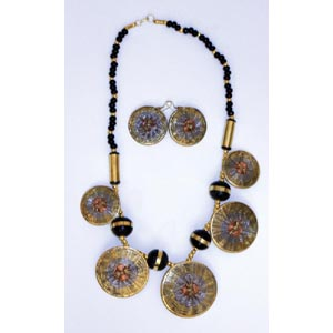 Woven Brass Necklace & Earrings Set