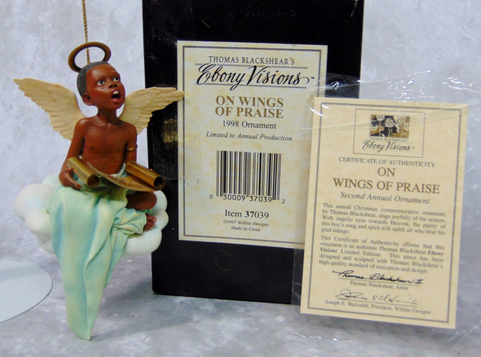 On Wings Of Praise Christmas ornament by Thomas Blackshear